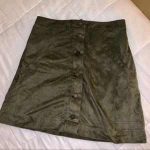 Green suede mini skirt